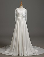 A-line Wedding Dress Court Train Jewel Chiffon / Lace with Flower / Lace