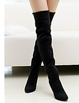 Boots Fall / Winter Round Toe Fleece Outdoor / Casual Stiletto Heel Split Joint Black / Red