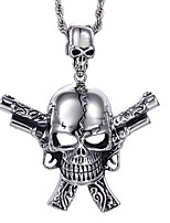 Gothic Punk Style Jewelry Men's Stainless Steel Skull with Double Pistols Pendant Necklace