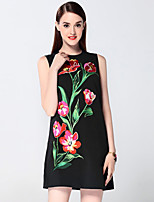 Boutique S Women's Going out Sophisticated Sheath Dress,Embroidered Round Neck Above Knee Sleeveless Black