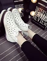Women's Shoes Cowhide Spring / Summer / Fall / Winter Comfort Boots Casual Low Heel Zipper / Polka Dot Green / White