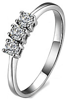 Three Stones Ring SONA Diamond Band Ring 0.3CT Sterling Silver Jewlery Pt950 Stamped