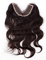 Evawigs Body Wave Brazilian Human Hair V Shape Lace Closure Unprocessed Natural Color For Black Women