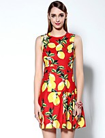 Boutique S Women's Going out Sophisticated Sheath Dress,Print Round Neck Mini Sleeveless Red Polyester