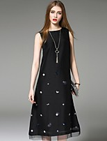 Angel Women's Going out Street chic Loose Dress,Print Round Neck Midi Sleeveless Black Polyester Summer