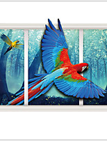 Forest parrot Landscape home decal 3D Wall Stickers Decorative PVC Material Removable Home Decoration Wall Decal
