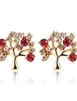 Sweet Shining Fruit Tree Shape Color Diamond  Earrings