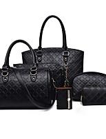 Women Bag Sets PU All Seasons Sports Casual Office & Career Barrel Zipper Fuchsia Black White Gold Blue