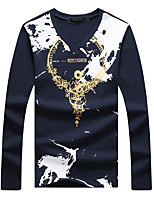 Men's Fashion Personalized Print V Collar Casual Slim Fit Long-Sleeve T-Shirt, Cotton /Print/Plus Size/Casual