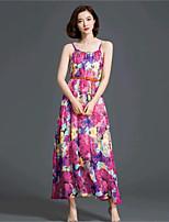 Women's Beach Boho Sheath / Swing Dress,Floral Strap Maxi Sleeveless Red Cotton / Spandex Summer