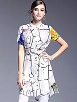 AFOLD® Women's Round Neck Short Sleeve Asymmetrical Dress-5593