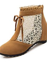 Women's Shoes Wedge Heel Fashion Boots / Round Toe Boots Dress / Casual Black / Yellow / Beige