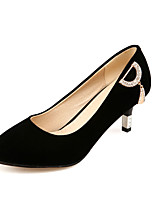 Women's Shoes Fleece Summer/ Round Toe Heels Office & Career / Casual Cone Heel Sparkling Glitter Black / Red