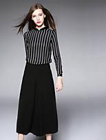 BOMOVO® Women's Stand Long Sleeve Tea-length Dress-B16XQF7