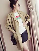 Mulheres Casaco Trench Casual Moda de Rua Verão,Sólido Branco / Marrom Algodão Decote V-Manga Longa Leve Transparência