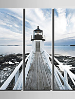 E-HOME® Stretched Canvas Art Seaside Lighthouse Decoration Painting  Set Of 3