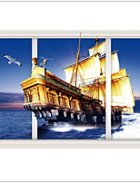 New Design 3 d Wall Stickers  Sailing The Sea   Landscape Decorative Home decal ,PVC Removable Home Decoration