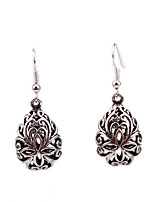 Personality Retro Folk Style Hollow Carved Cross Drop Earrings
