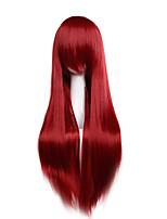 prezzo a buon mercato ad alta temperatura di colore fuxia cosplay parrucca sintetica 80cm giovani lunghe parrucche diritte