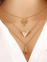 Alloy Gold Layered Chain Necklace with Eiff Towel Pendant