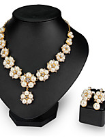 18kGold Pearl Flower Necklace Earrings Jewelry Set for Lady Wedding Party