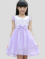 Girl's Casual/Daily Patchwork Dress,Cotton / Polyester All Seasons Purple