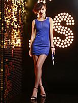Mulheres Bandagem Vestido,Festa/Coquetel Sensual Sólido Decote Redondo Acima do Joelho Sem Manga Azul / Vermelho / Cinza PoliésterTodas
