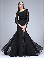 TS Couture® Formal Evening Dress Trumpet / Mermaid Scoop Sweep / Brush Train Lace / Polyester with Lace