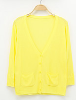 Women's Casual/Daily Street chic Regular Cardigan,Solid Blue / Pink / White / Black / Green / Yellow V Neck ¾ Sleeve Linen Spring Thin