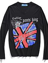 Men's Long Sleeve T-Shirt,Polyester Casual Print / Letter V-neck