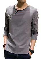2016 new spring Linen Shirt Mens Size male Korean slim long sleeved cotton shirt T-shirt