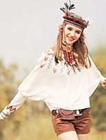 Aporia.As® Femme Col Arrondi Manche Longues Shirt et Chemisier Noir / Blanc-MZ03044