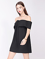 TAMMY TANGS Women's Street chic Solid Loose Dress,Boat Neck Above Knee Polyester