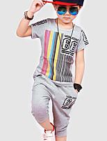 Мальчик Набор одежды,Спорт,Полоски,Хлопок,Лето,Черный / Серый