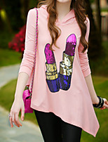 Pink Doll® Women's Irregular Hooded Round Neck Long Sleeve Hoodie Pink-X14ASW016