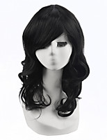 High Quality Natural Long Curly Black Color Synthetic Wig For White Women