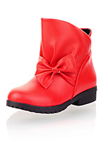 Women's Shoes Fall / Winter Fashion Boots / Round Toe Boots Dress Chunky Heel Bowknot Black / Red / Beige