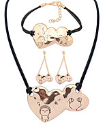 European Style Fashion Simple Heart to Heart Music Boy Necklace Bracelet Earring Sets