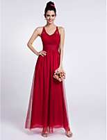 Lanting Bride Ankle-length Lace / Tulle Bridesmaid Dress Sheath / Column Halter with Lace