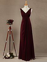 Sheath / Column Mother of the Bride Dress Floor-length Chiffon with Criss Cross