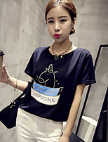 Women's Casual/Daily Simple Summer T-shirt,Geometric Round Neck Short Sleeve Blue / White Polyester Thin