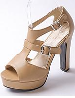 Women's Shoes Chunky Heel Heels / Peep Toe Sandals Wedding / Party & Evening / Dress Black / White / Almond