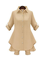 Women's Casual/Daily Simple Summer Blouse,Solid Shirt Collar ¾ Sleeve White / Beige Polyester Medium