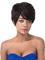 European Fashion Short Sythetic Natural Black Straight Side Bang Party Wig For Women