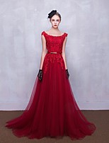 Formal Evening Dress A-line Scoop Sweep / Brush Train Lace / Tulle with Appliques / Beading / Sash / Ribbon