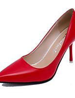 Damenschuhe-High Heels-Hochzeit / Büro / Party & Festivität-Lackleder-Stöckelabsatz-Pumps / Spitzschuh-Schwarz / Rosa / Rot / Weiß / Grau