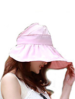 Women Summer Solid Ribbon Floppy Hats with Drawstring Large Brim Foldable Sun Hat