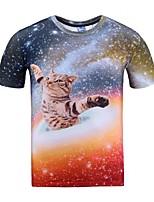 Tee-Shirt Pour des hommes A Motifs Décontracté Manches Courtes Polyester Rouge
