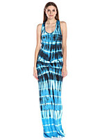 Women's Holiday Vintage Sheath Dress,Print U Neck Maxi Sleeveless Blue Polyester Summer