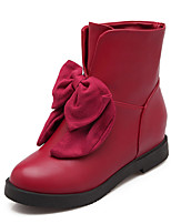 Women's Shoes Winter Bootie / Round Toe Boots Dress / Casual Platform Bowknot Black / Blue / Red